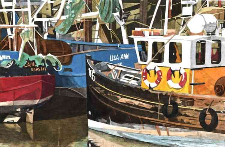 FISHING BOATS, RYE Fishing boats moored next to the fish market on the Salts in Rye.  Limited edition hand-coloured etching