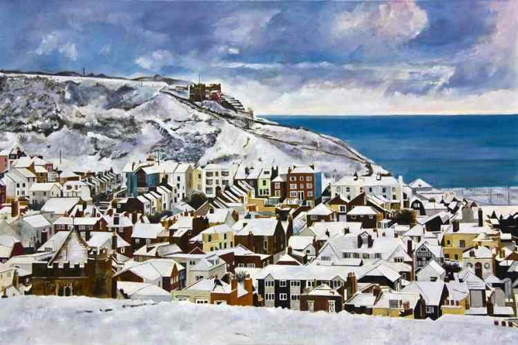 EAST HILL SNOW - Limited edition giclée print by Colin Bailey. Snow on the East Hill, the funicular railway and the roofs of houses in the Old Town. .