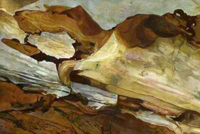Coastal textures of Rye bay ROCKDOG Strangely canine pattern of erosion on rocks at the foot of the cliff at Rock-a-Nore in Hastings, East Sussex. The painting was started in washes of acrylic paint which were the finished with thin glazes of oil paint.
