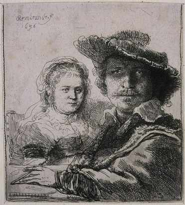 Printmaking: Self-portrait with Saskia, 1636, etching,   Rembrandt