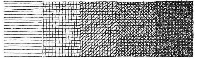 Progressive hatching in different directions to create the illusion of tone in a one bite etching
