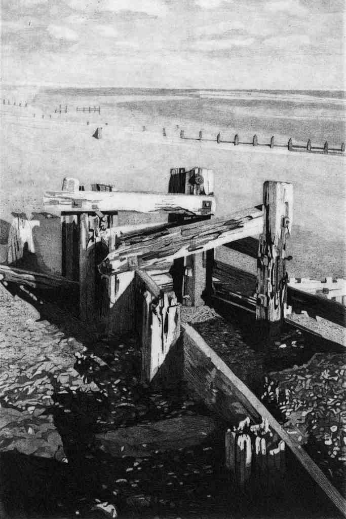 RYE BAY GROYNES 1- Groynes at low tide on Winchelsea beach near Rye with Dungeness in the background. Limited edition etching