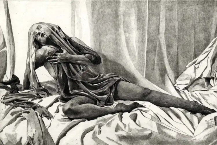 SALOME ALONE Draped and veiled nude female figure reclining on crumpled sheets. limited edition etching