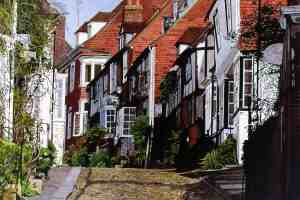 SPRING UP MERMAID STREET, RYE Spring sunshine washes the view up Mermaid street, Rye's famous medieval cobbled street.
