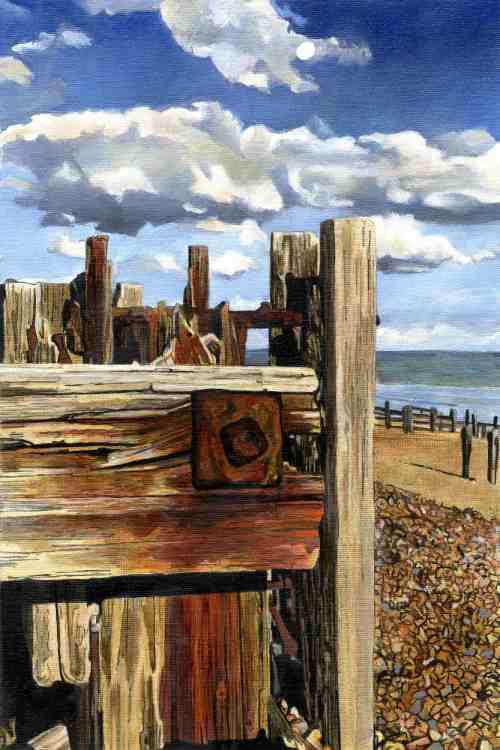 OUTPOST Held together by massive rust streaked bolts, a wall of groynes on Winchelsea beach awaits the sea.