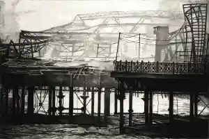SMOKE ON THE WATER Hastings pier continues to smoulder, wreathed in smoke the morning after the fire in October 2010. Limited edition prints by Colin Bailey