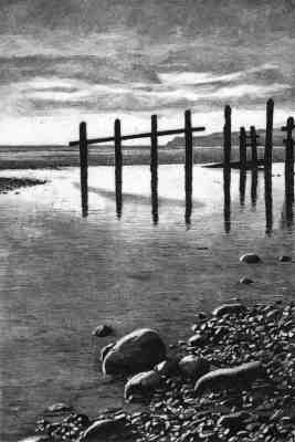 STICKS AND STONES - Low tide at Winchelsea beach near Rye, the weather-beaten groynes stand in silhouette against the headland at Fairlight, East Sussex. Limited edition etching  Click here to see larger more detailed image and view purchasing options