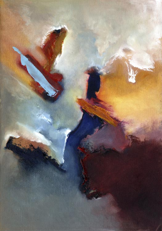 BRIDGING THE GAP painting 14ins x 20ins Oil on canvas board abstract painting