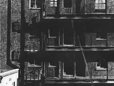 HILLVIEW BALCONIES – Sunlight casts geometric shadows on the balconies of Midhope House on the Hillview Estate in Kings Cross, London. Limited edition etching print by Colin Bailey