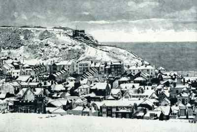 EAST HILL SNOW - Snow covering the roofs of the Old Town, Hastings looking toward the East Hill with its funicular railway