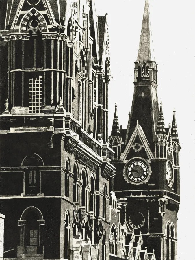 ST PANCRAS CLOCKTOWER - St Pancras station clocktower rises majestically above the Euston Road, London, in the 1980s Limited edition St Pancras station etching print by Colin Bailey