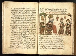 Double page spread from The JRL's 1001 Nights manuscript (Arabic MS 646 (706))