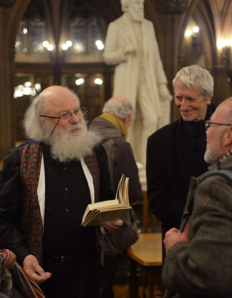 Sir Geoffrey Hill entertains poet Grevel Lindop and Michael Schmidt (director of Carcanet Press, editor, poet and polymath). Photograph courtesy of Fergus Wilde.