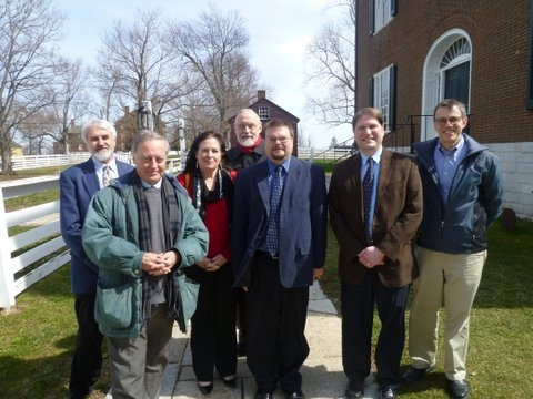 Dr Peter Nockles (second left) and staff at Asbury University, Kentucky.