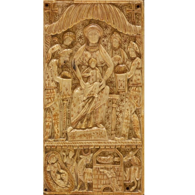 This ivory panel depicts the Adoration of the Magi in the upper portion and the Nativity of Jesus in the lower portion. The piece dates from the sixth century and was probably made in Egypt or Syria.