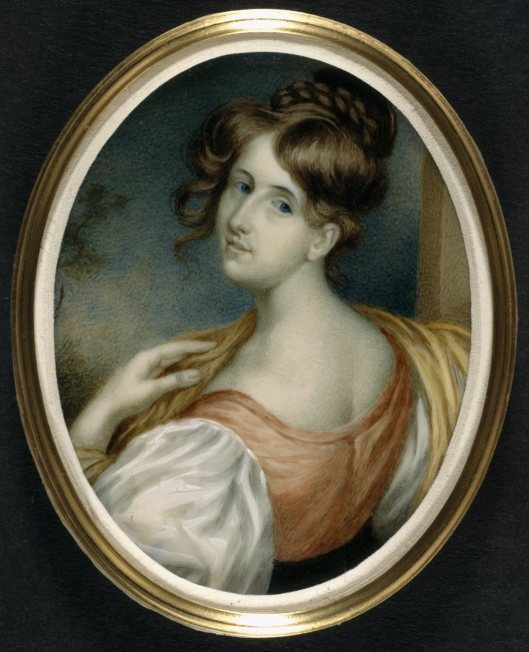 Portrait miniature of Elizabeth Gaskell [née Stevenson] by W. J. Thomson.