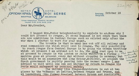 Extract from a letter sent by Fodor to W.P. Crozier in October 1938