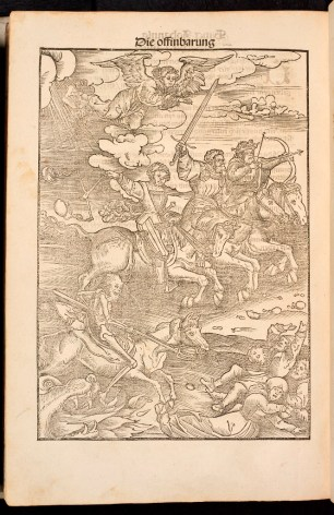 Woodcut depicting the Foure Horsemen of the Apocalypse in Martin Luther's 1522 September Testament.