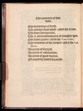 Image of the contents page of 'The King's Book'