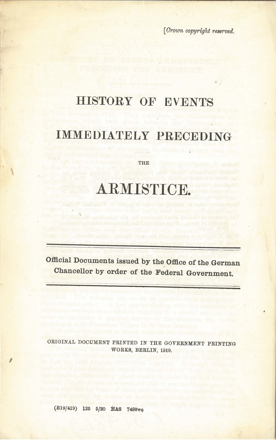 History of Events Immediately Preceding the Armistice 1918