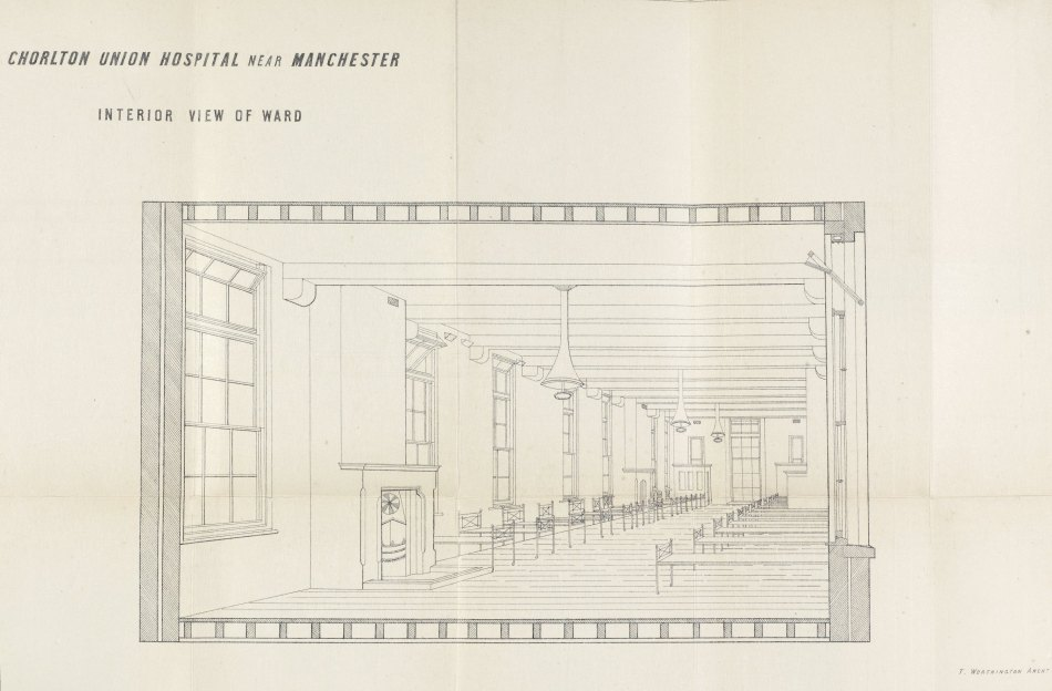 Interior view of ward, Chorlton Union Hospital, from Transactions of the Manchester Statistical Society, 1867