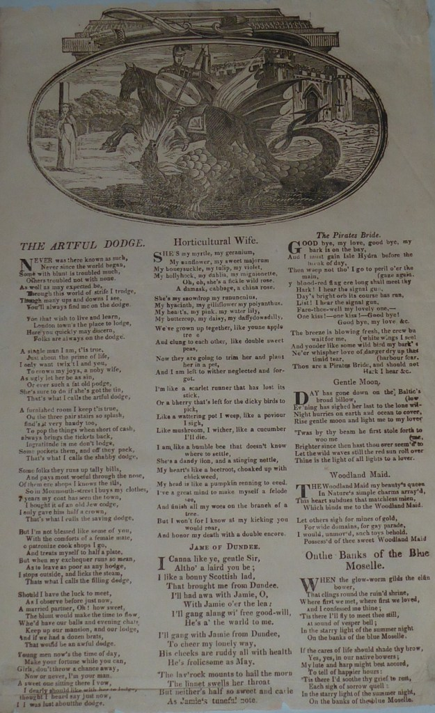 Incomplete ballad sheet printed by James Catnach of London. Seven ballads in three columns. Woodcut of St George and dragon at head.