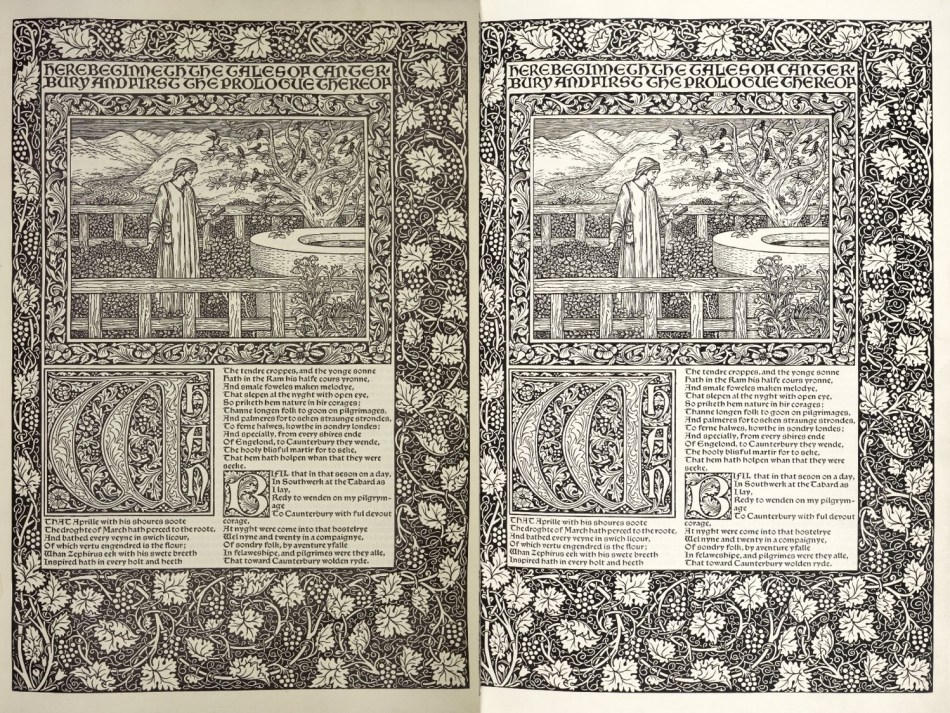 Two identical pages, one printed on paper, the other on vellum. Text in two columns beneath woodcut of man in garden, Decorative initials and borders.