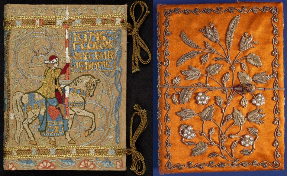Two adjacent bindings. Left: Embroidery of richly-attired man on horseback carrying lance. Right: orange satin embroidered with floral sprays worked with gold wire; flowers are clusters of pearls.