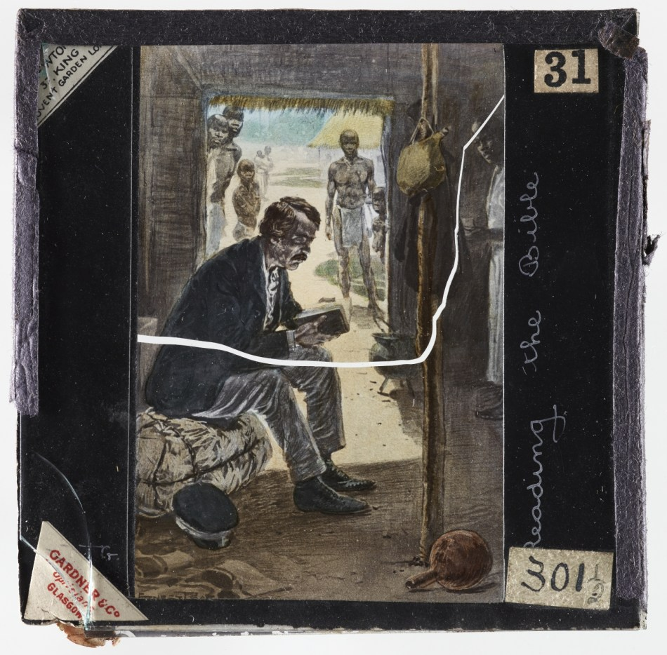 Livingstone distrusted the use of technology to 'play god', but his writings helped to popularise the idea. The magic lantern slide depicts Livingstone reading a Bible.