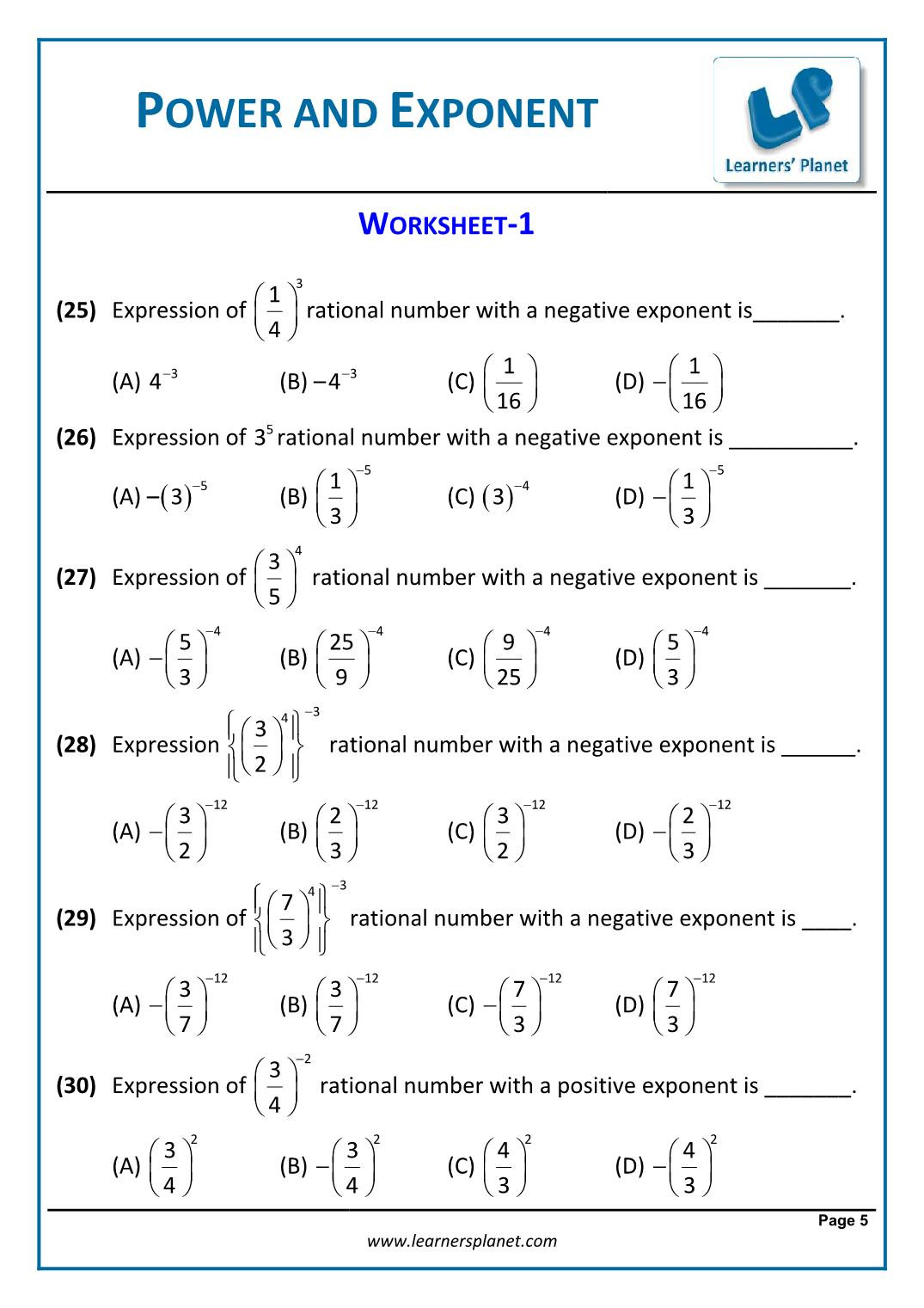 30 7th Grade Rational Numbers Worksheets
