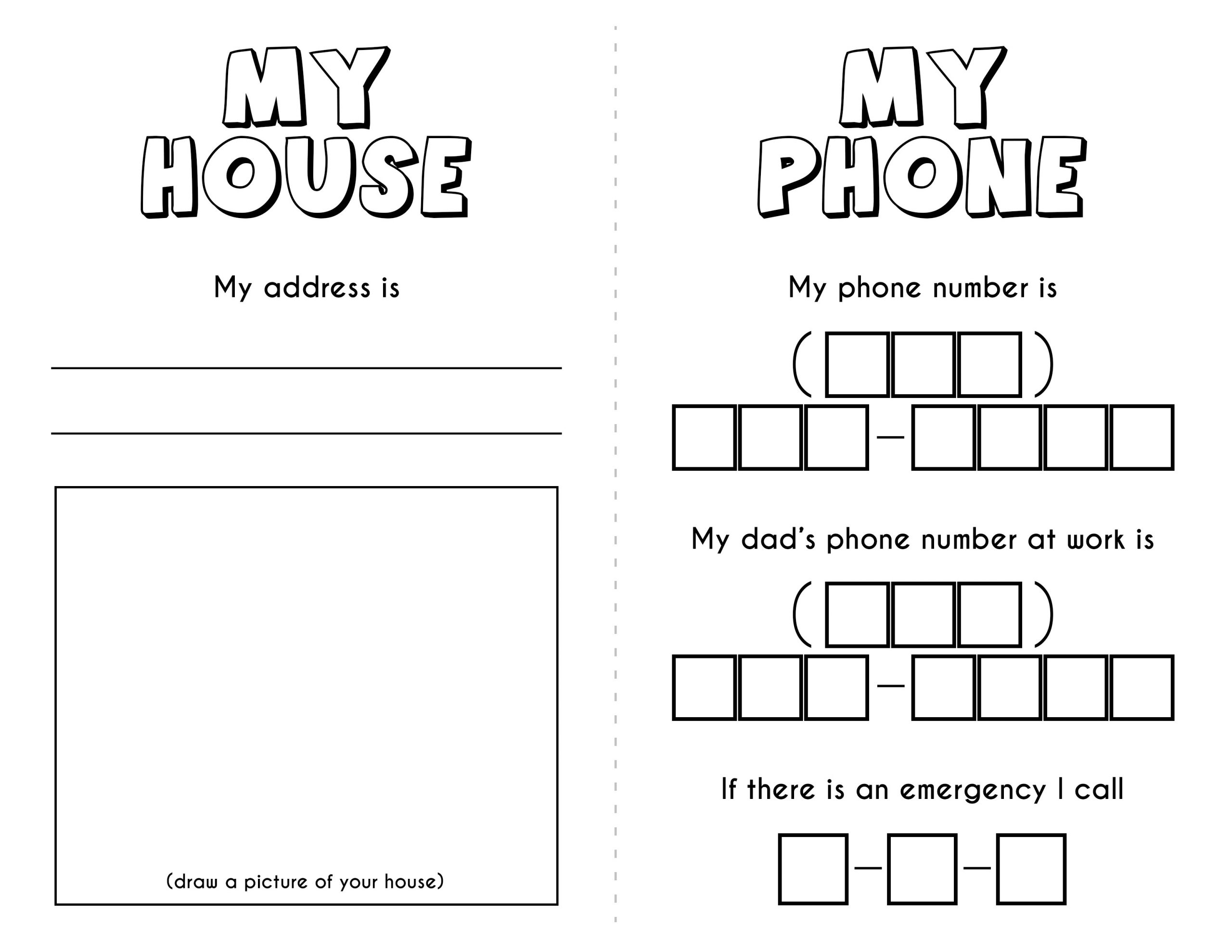 Address And Phone Number Worksheet Theme Library