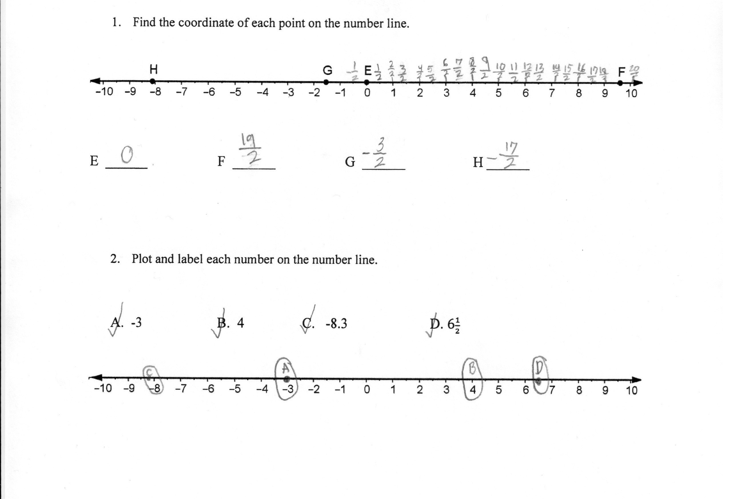 Comparing Fractions Number Line Worksheet Theme Library