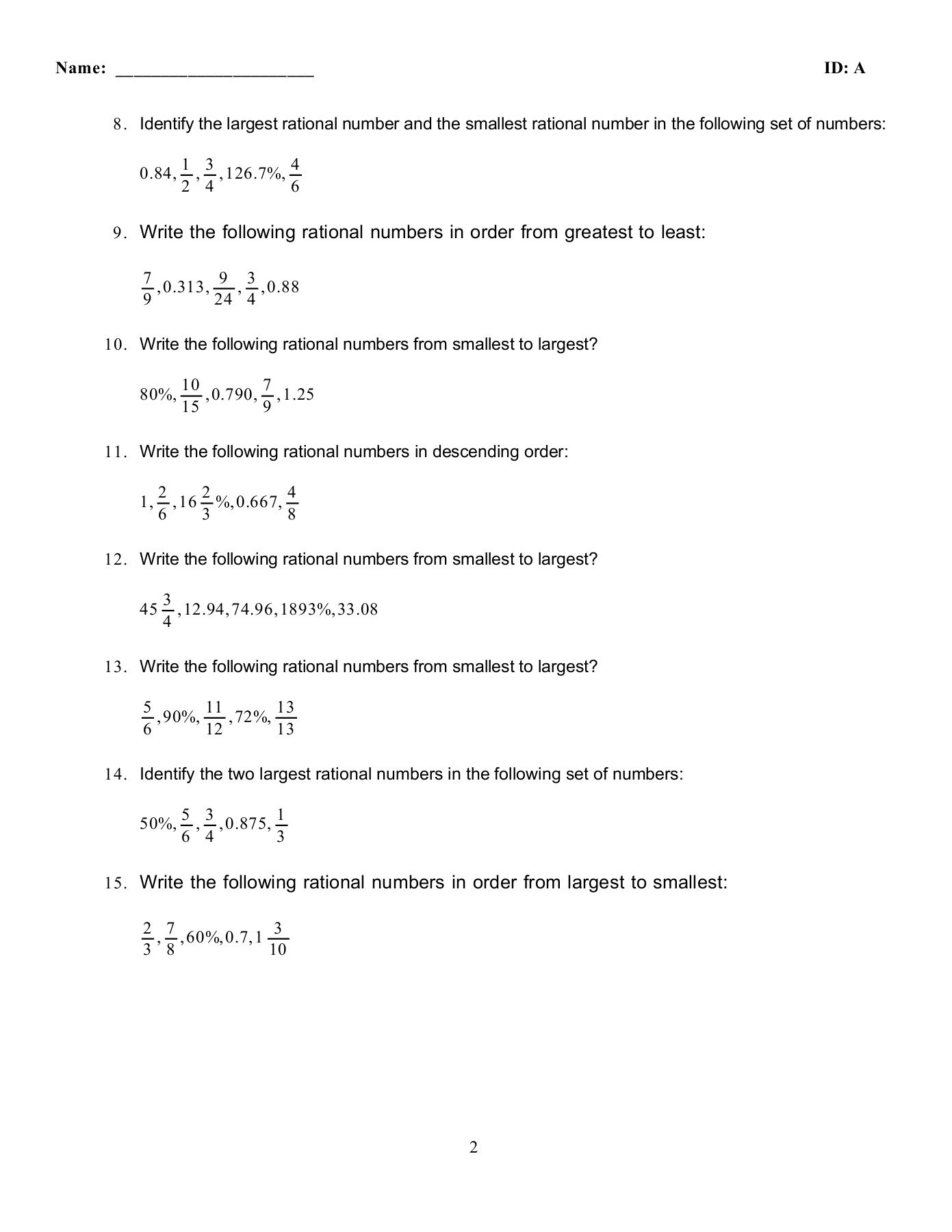 Identify Rational Numbers Worksheet Theme Library