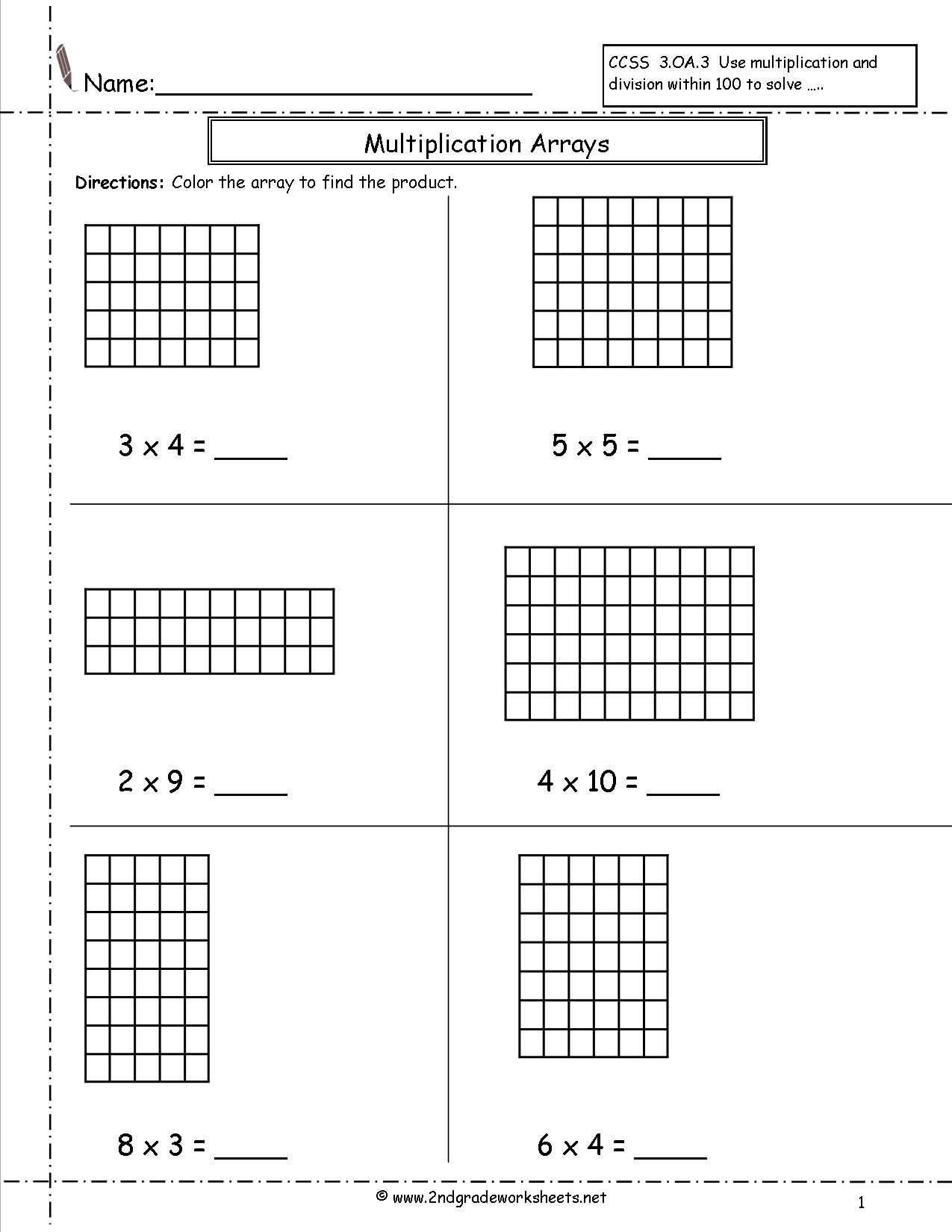 Multiplication Arrays Worksheets Grade 3 Theme Library