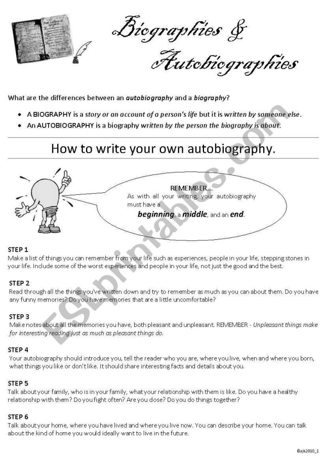 Biography Vs Autobiography Worksheet  Theme Library