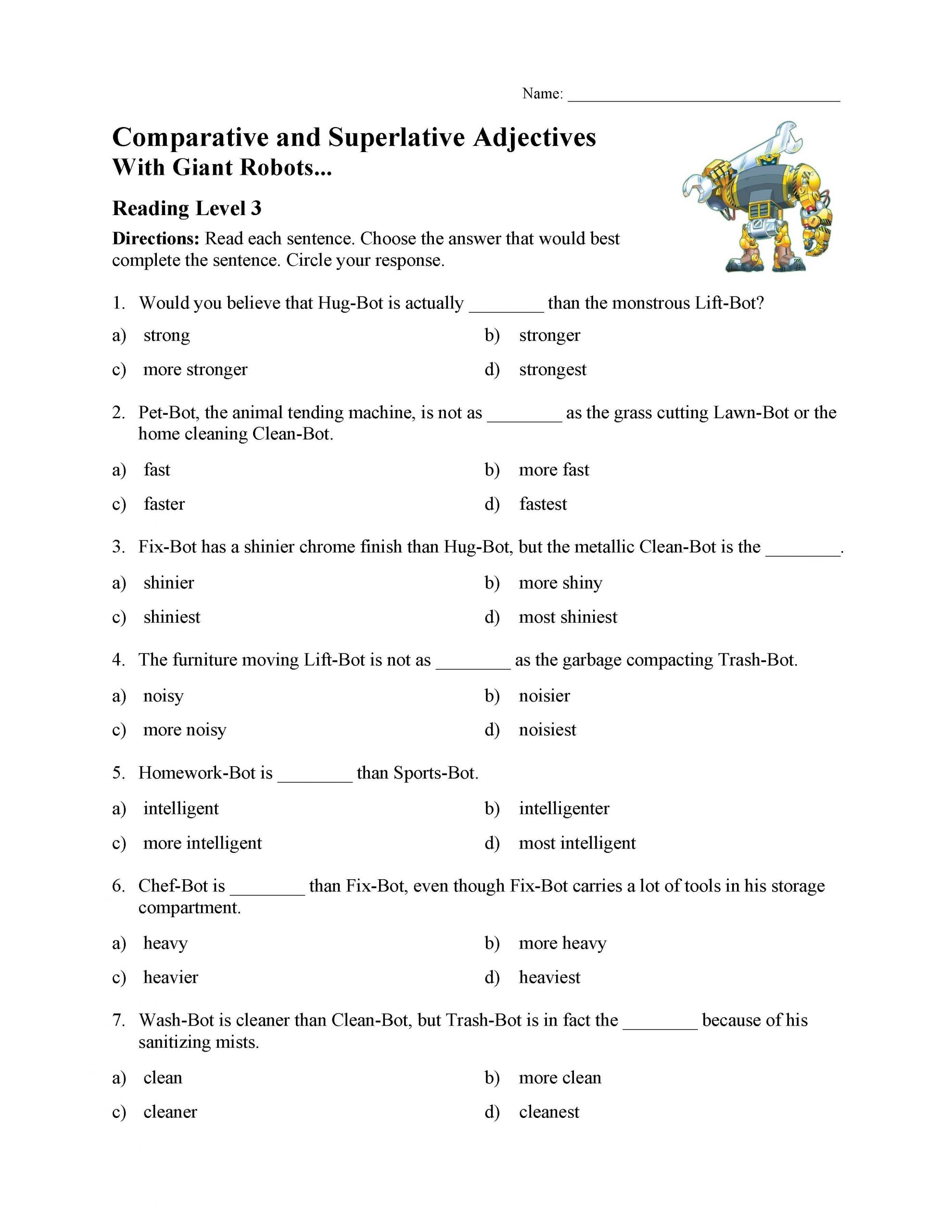 30 Comparing With Adjectives Worksheets