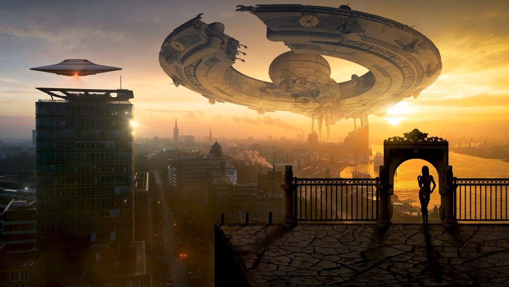 Picture of a science fiction world, futurised with a ship and saucers