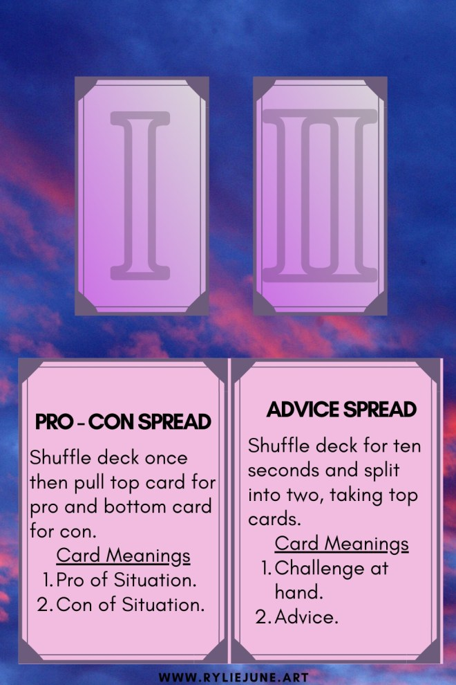 Easy and simple two card spread for beginner tarot card readers.