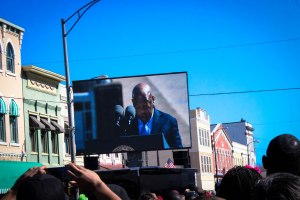 John Lewis delivering his celebration speech at the 50th anniversary of the march for African-American's right to vote