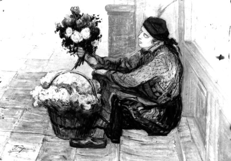 Woman Selling Flowers, illegible date