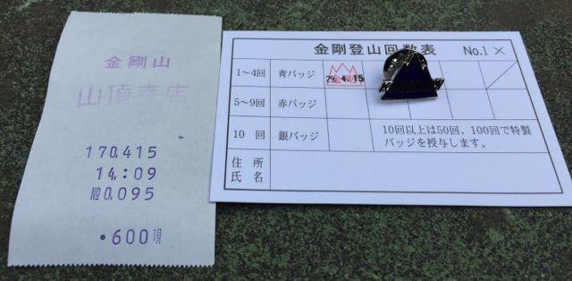金剛山登山回数カードとピンバッジ