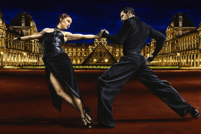 Dancers - Tango and Ballroom Gallery. Last Tango in Paris. Fine art original oil painting on a 91cm x 61cm stretched canvas created in 2007 using a knife. Produced in cooperation with Natalie Laruccia, Walter Perez and Sandra Antognazzi. Original available. Framed = £1,850