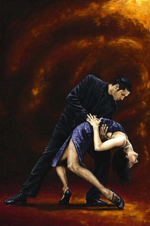 Dancers - Tango and Ballroom Gallery. Lost in Tango. Fine art original oil painting on a 91cm x 61cm stretched canvas created in 2006 using a knife.Produced in cooperation with Natalie Laruccia, Walter Perez and Sandra Antognazzi. Original available. Framed = £1,000