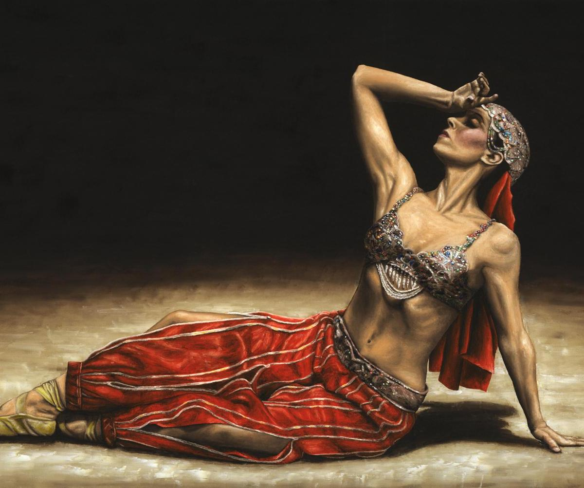 Dancers - Ballet Art Gallery. Arabian Coffee Awakes - Ekin Cangal. Fine art original oil painting on a 91cm x 61cm stretched canvas created in 2008 using a knife. Produced in cooperation with Ilknur Erdir and Ekin. Original available = £1,350