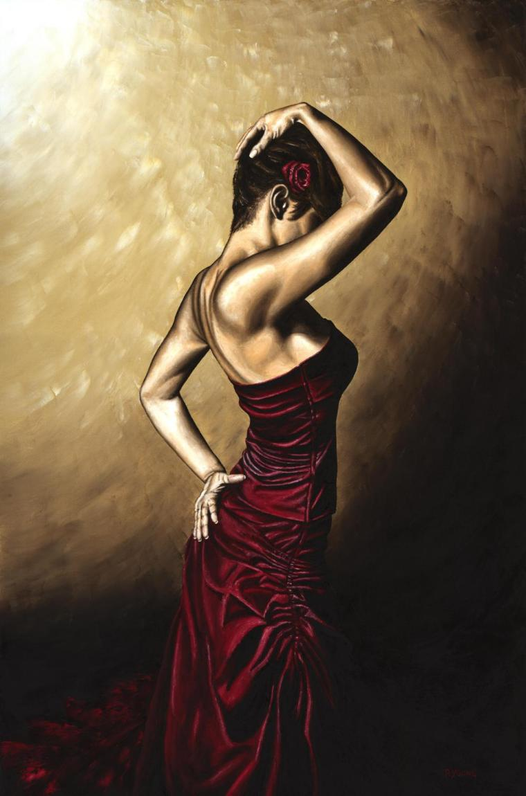 Flamenco Woman. Fine art original oil painting on a 91cm x 61cm stretched canvas created in 2007 using a knife. Produced in cooperation with Mehmet Targut. Original available. Framed = £1,575
