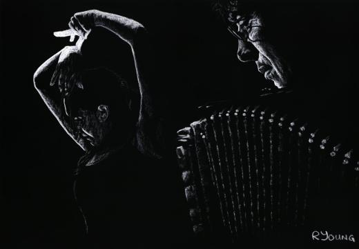Fine Art Original Pastels. Musicians and Singers Art Gallery. The Intensity of Flamenco. Fine art original pastel on a 70cm x 50cm pastel card created in 2007. Produced in cooperation with Ahmad Kavousian and Daniele Pardi. Original available. Framed = £449