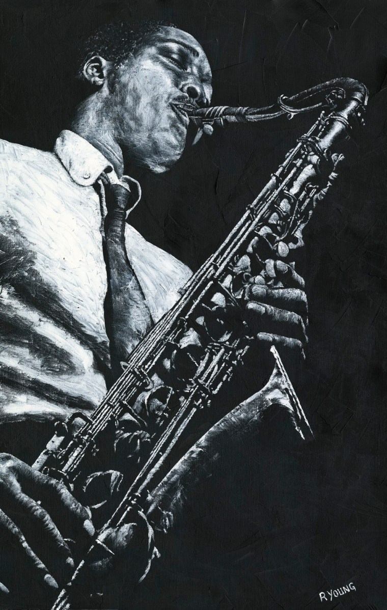 Musicians and Singers Art Gallery. Expressive Sax - Hank Mobley. Fine art original oil painting on a 91cm x 61cm stretched canvas created in 2018 using a knife. Produced in cooperation with Michael Cuscuna and Mosaic Records. Original available via Headrow Gallery, 588 Harrogate Road, Alwoodley, Leeds , West Yorkshire LS17 8DP. Contact Max on 07969575747. Framed = £1,495