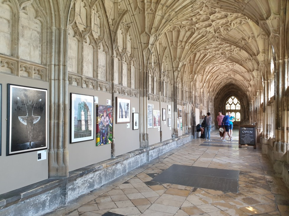 Art in the City Exhibition - Gloucester Cathedral. Secret Rehearsal painting is featured.