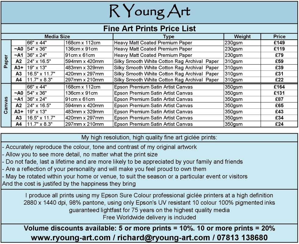 R Young Art Fine Art Prints Price List and Specifications