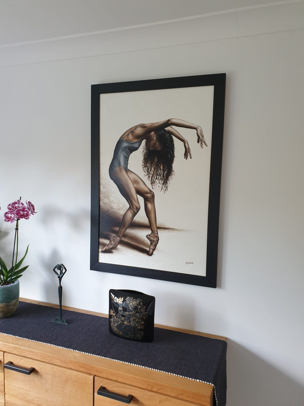 Dance Intensity framed and hung in my home for reference